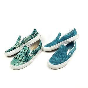 Vans Skater Shoes Turquoise Green Slip On Sneaker
